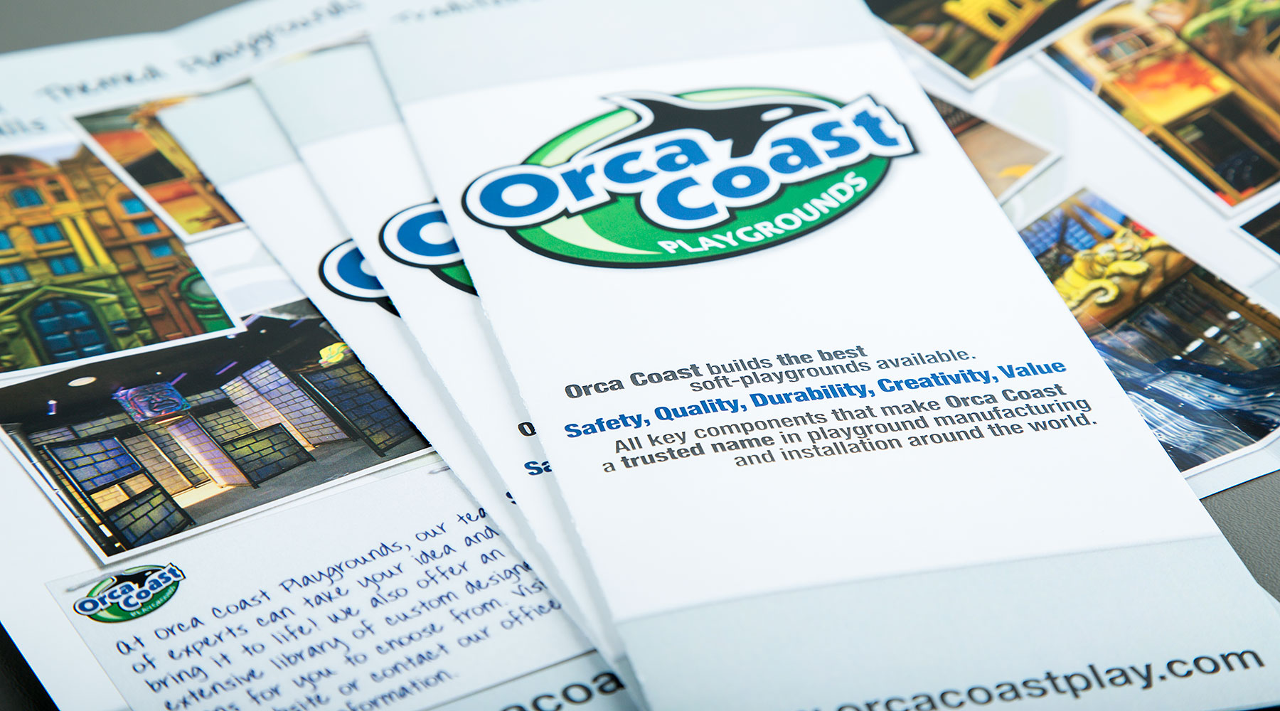 Orca Coast Playgrounds tri-fold brochure